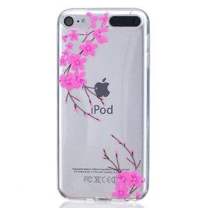Roze bloemen TPU case iPod Touch 5 6 7 doorzichtig hoesje