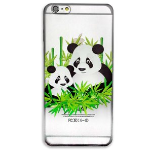 Doorzichtig panda hoesje TPU iPhone 6 en 6s cover