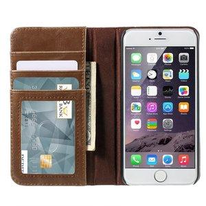 Lederen boek Bookcase hoesje Boek iPhone 6 Plus 6s Plus bruin kunstleer