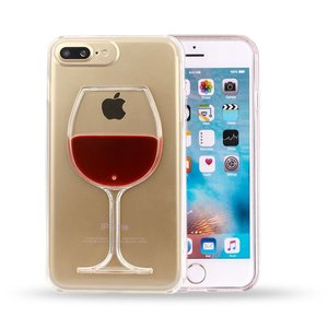 Doorzichtige hardcase wijn hoesje iPhone 7 Plus 8 Plus cover