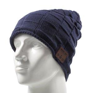 Bluetooth muziekmuts knitted blauw music hat