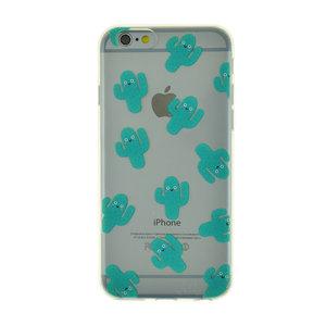 Blije cactus doorzichtig TPU hoes iPhone 6 6s cover