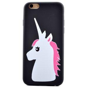 Wit roze eenhoorn hoesje iPhone 6 6s TPU unicorn cover