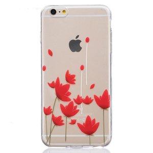 Doorzichtig rode bloemen tulpen TPU iPhone 6 6s hoesje case cover