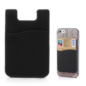 Universele Cardholder opplak pasjeshouder silicone telefoon - Zwart
