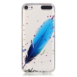 Doorzichtig hoesje iPod Touch 5 6 7 TPU blauwe veer spikkels