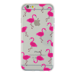 Transparant Roze flamingo TPU hoesje iPhone 6 6s case cover