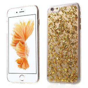 Doorzichtig hoesje met bladgoud iPhone 6 en 6s Gouden TPU cover