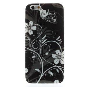 Zwart witte bloemen TPU hoesje iPhone 6 6s case