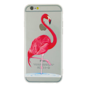 Transparante roze flamingo TPU hoesje iPhone 6 6s case cover