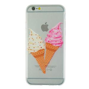 Doorzichtig hoesje softijsjes roze wit iPhone 6 en iPhone 6s