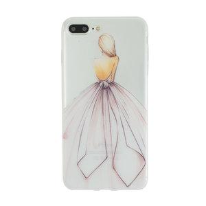 Danseres Jurk iPhone 7 Plus en 8 Plus hoesje case - Wit Roze pastel girl