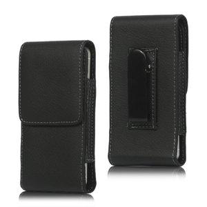 Broekclip iPod Touch 5 6 en iPhone 5 5s 5c SE - lederen hoesje zwart