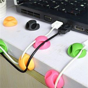 Kabelhouder dubbel 12 snoeren cable organizer clips - groen roze oranje