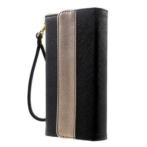 Universele kunstlederen wallet portemonnee tas - zwart leder brons
