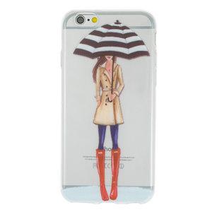 Regen paraplu meisje TPU hoesje iPhone 6 6s - Rode Laarsjes Trenchcoat - Doorzichtig