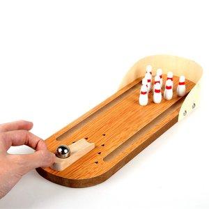 Bowlingspel cadeau met Knikker Kegels Pins - Bowlingbaan Hout