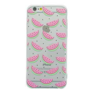 Watermeloen hoesje iPhone 6 6s TPU Transparante cover Meloen Fruit - Doorzichtig