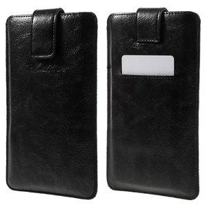 Universeel zwart lederen insteekhoesje voor iPhone - Max. 5 inch