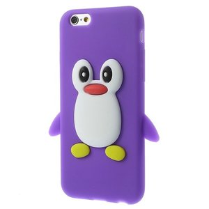 Pinguin silicone 3D hoesje iPhone 6 6s - Paars