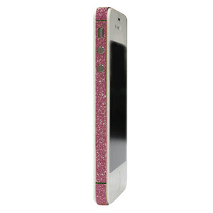 Skin iPhone 4 4s glitter Bumper stickers Color Edge glamour - Roze
