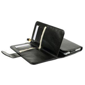 Universele wallet pasjes hoesje lederen bookcase - Zwart
