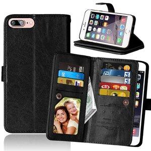 Grote Wallet Pasjeshouder lederen hoesje iPhone 7 Plus 8 Plus - Zwart - 9 Pasjes