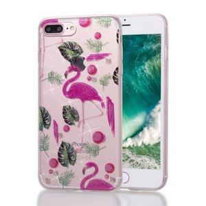 Flamingo tropische glitter TPU hoesje iPhone 7 Plus 8 Plus - Doorzichtig Roze Groen