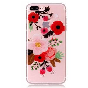 Bloem tak hoesje TPU iPhone 7 Plus 8 Plus - Kleurrijk Doorzichtig