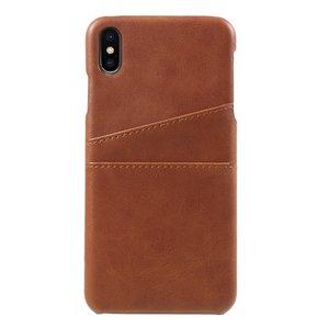 Synthetisch leer kaarthouder hoesje iPhone XS Max case - Bruin