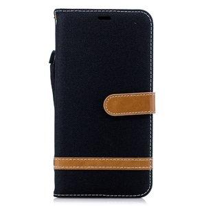 Fabric Lederen iPhone XS Max Bookcase wallet hoesje Standaard - Zwart Bruin