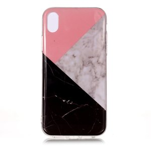 Geometrisch Marmer iPhone XS Max TPU hoesje - Roze Zwart Wit