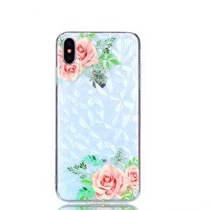 Diamant hoesje TPU iPhone XS Max Case - Bloemen