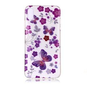 Doorzichtig Bloemen en Vlinder iPhone XS Max - Paars