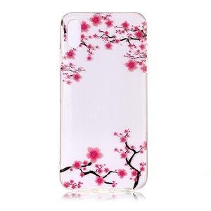 Doorzichtig Bloesem TPU iPhone XS Max - Roze