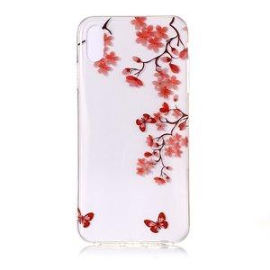 Bloesentak met vlinders Soepel TPU hoesje iPhone XS Max - Rood