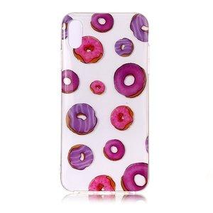 Donuts Flexibel TPU Hoesje iPhone XS Max - Roze Paars