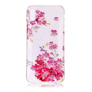 Doorzichtig iPhone XS Max Weelderige BloemenTPU hoesje - Roze Rood