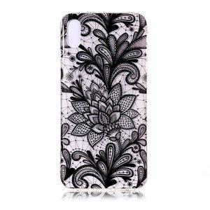 Doorzichtig Henna Bloemen iPhone XS Max TPU hoesje - Zwart
