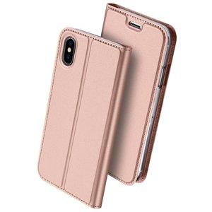 Dux Ducis Cover booklet case hoesje met flap leren hoes iPhone X XS - Rose Goud