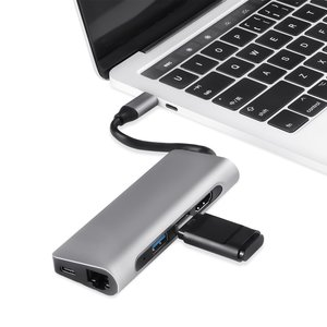 Multifunctionele USB C Multi-poort Hub met 4K HDMI SD TF kaartlezer 2 USB 3.0 Poorten RJ45 Gigabit Ethernet Adapter voor Macbook Pro