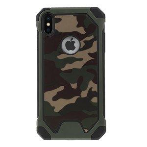 TPU Zacht Camouflage Kunstleer hoesje iPhone XS Max cover - Groen