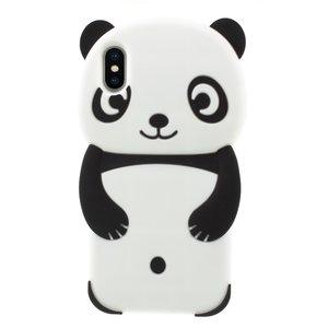 Panda Hoesje Silicone iPhone XS Max - Zwart case