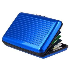 Aluminium Metaal Pasjeshouder niet Magnetisch - 6 Compartimenten Blauw
